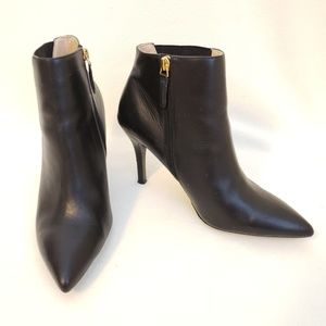 Nine West Front 9x9 Stiletto Booties Leather